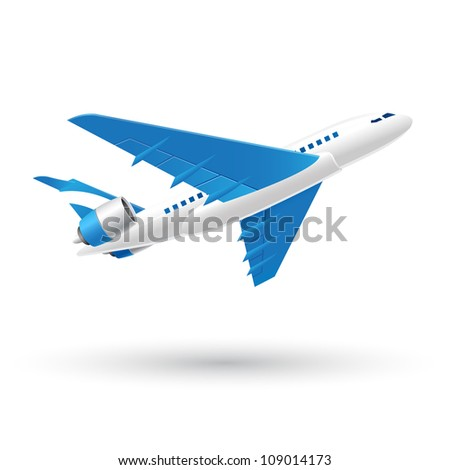 Blue and White Speed Airplane icon - stock vector