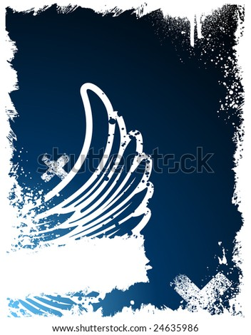 Blue and white wing grunge paint splatter frame background - stock vector
