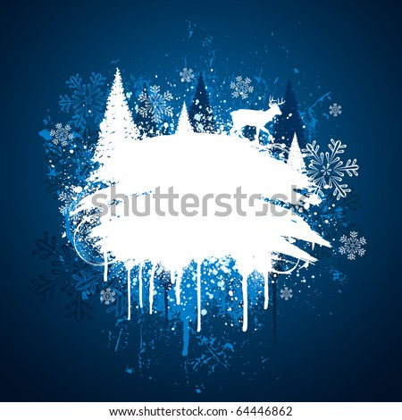 Blue and white winter grunge spray paint design - stock vector