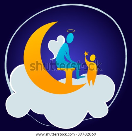 Blue angel with child - christmas concept - stock vector