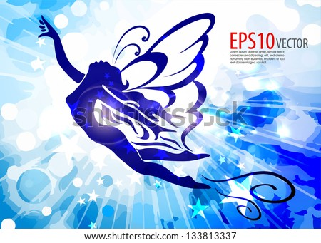 Blue angel with trumpet - on a blue background - stock vector