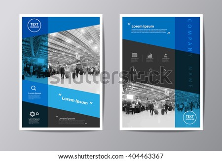 Blue annual report Leaflet Brochure Flyer template A4 size design, book cover layout design, Abstract presentation templates vector illustration - stock vector