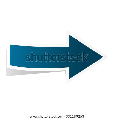 Blue arrow with shadow isolated on white - stock vector