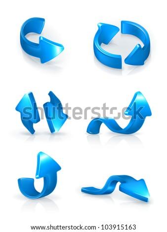 Blue arrows set, vector - stock vector