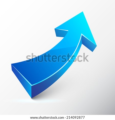 Blue ascending arrow.  Vector Illustration.  - stock vector