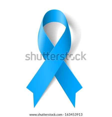 Blue awareness ribbon on white background. Disease symbol. - stock vector