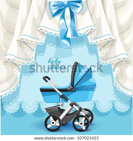 Blue baby shower card with baby carriage - stock vector