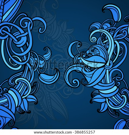 Blue background. Cover. Card. A wreath of flowers. Vegetation element. Circuit. Vector graphics. Central composition. - stock vector