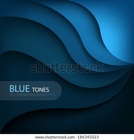 Blue background curve line on space shadow overlap and dimension modern texture pattern for text and message website design - stock vector