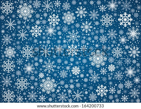 Blue background maked from frosty snowflakes, vector pattern - stock vector