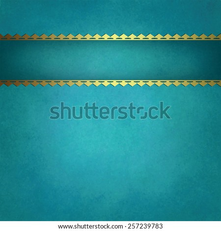 blue background vector with gold trimmed ribbon that is blank for title or text, blue green background textured report cover or brochure with copyspace, vintage background texture, and stripe decor - stock vector