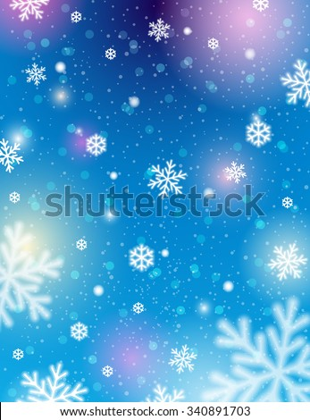 Blue background with bokeh and blurred snowflakes, vector illustration - stock vector