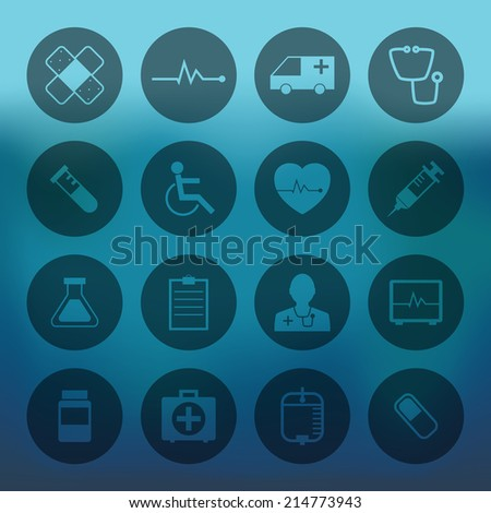 Blue background with circle Medical Icons Collection set - stock vector
