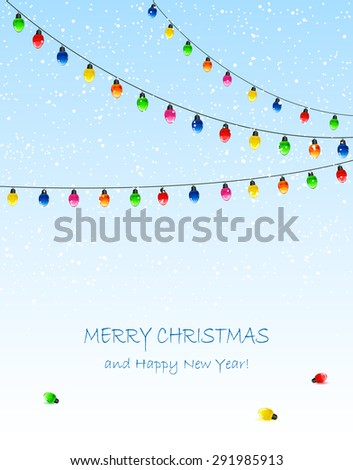 Blue background with electric Christmas lights and falling snow, illustration. - stock vector