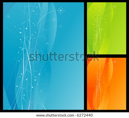 Blue Background with flowing lines and stars. Includes green and orange color options. Easy-edit layered file. - stock vector