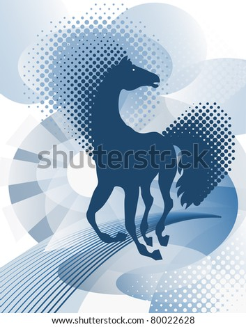 Blue background with horse - stock vector