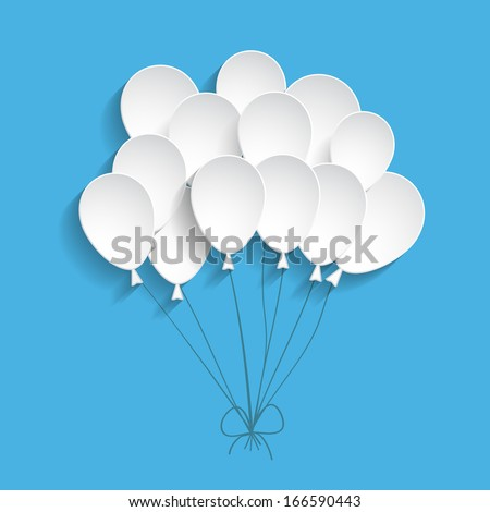 blue background with paper balloons - stock vector