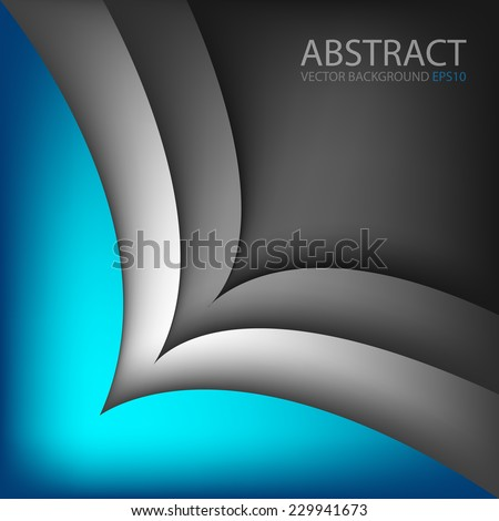 Blue background with silver curve grey line on black space overlap layer for text and message modern artwork design , vector - stock vector