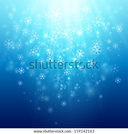 Blue background with snowflakes. - stock vector