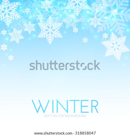 Blue background with snowflakes. Vector illustration - stock vector