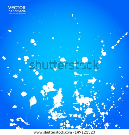 Blue background with splashes of white paint - stock vector