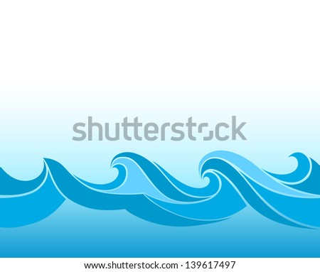Blue background with stylized waves - stock vector