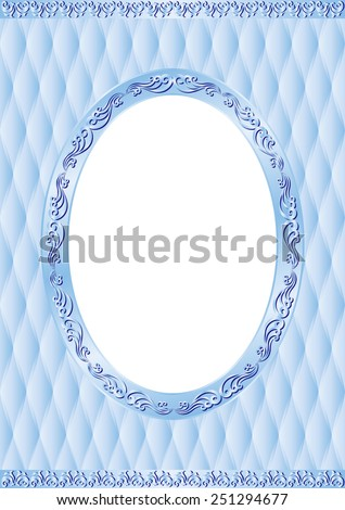 blue background with vintage frame and transparent space insert for picture - stock vector