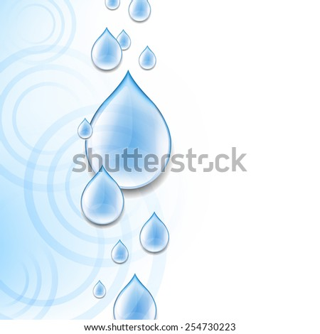 Blue Background With Water Drops With Gradient Mesh, Vector Illustration - stock vector