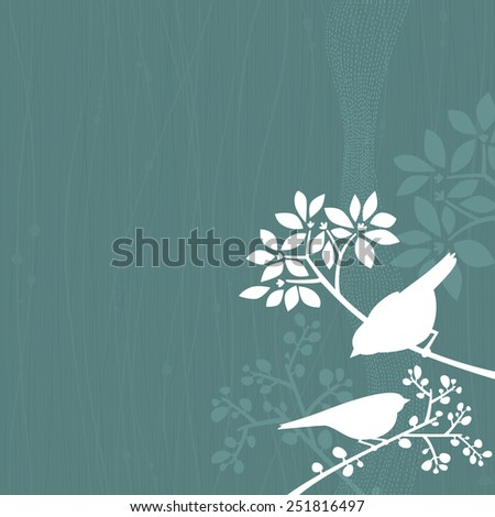 Blue background with white silhouettes of a couple of birds perching in some tree branches. Space for copy/text. Layered vector file, for easy manipulation. - stock vector
