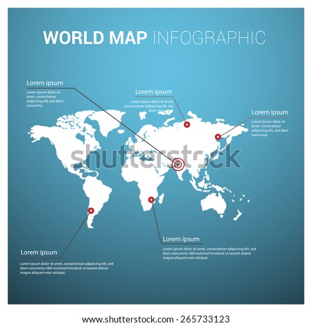 Blue background world map with highlighted text on different location. World map infographic template. - stock vector