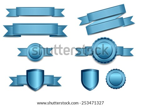 Blue Banners with Shield and Rosette - stock vector