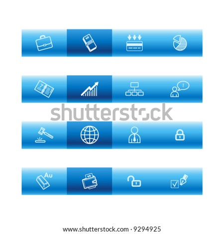 Blue bar business icons - stock vector