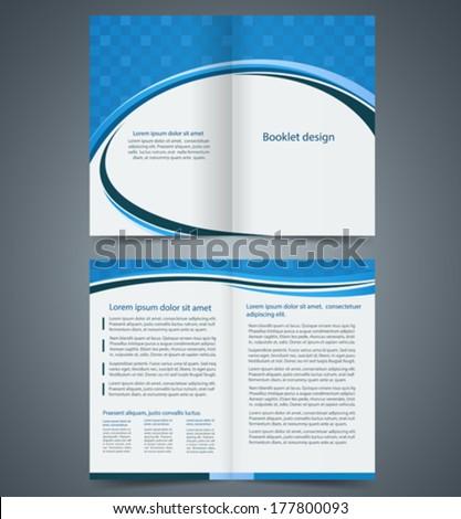 Blue bi-fold brochure template design, business leaflet, booklet - stock vector