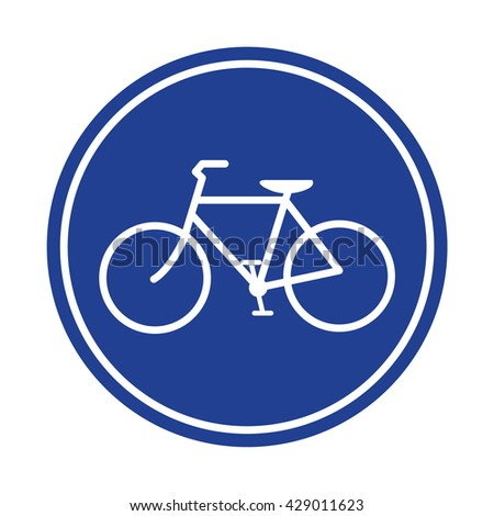 Blue Bicycle lane sign vector - stock vector