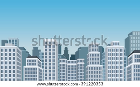 Blue big colorful city landscape with buildings - stock vector