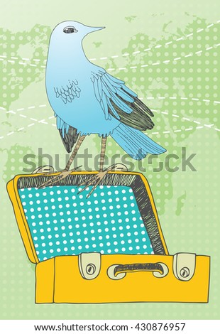 Blue bird and yellow suitcase - stock vector