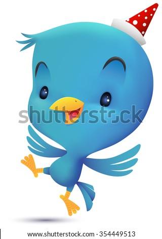 Blue Bird flying - stock vector