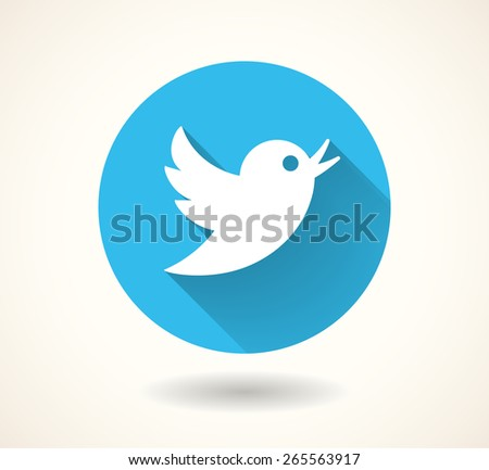 Blue bird icon isolated on white background. Vector social media symbol. EPS 10 - stock vector
