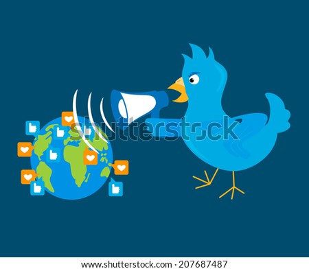 Blue bird is shouting through a megaphone on the planet - stock vector