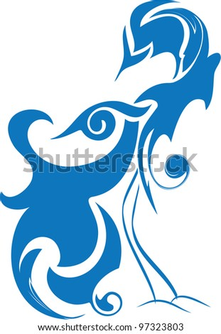 blue bird of happiness, birds of paradise, abstract stylized bird - stock vector