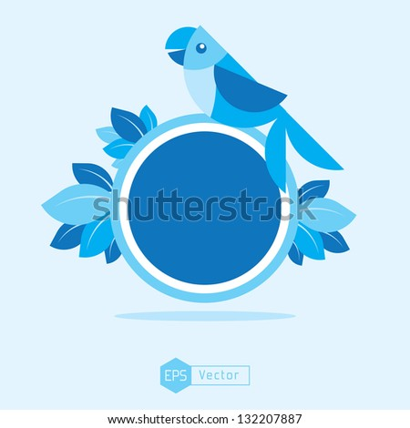 blue bird sign board parrot - stock vector