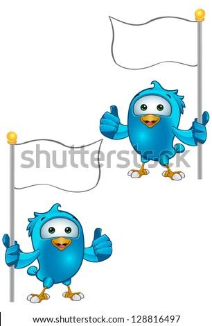 Blue Bird - Thumbs Up Holding Flag - stock vector
