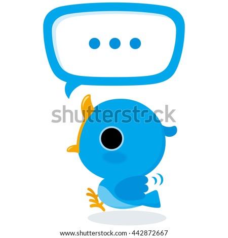 Blue bird tweet Illustration of tweet blue bird on white background. - stock vector