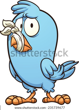 Blue bird with a tied beak. Vector clip art illustration with simple gradients. All in a single layer. - stock vector