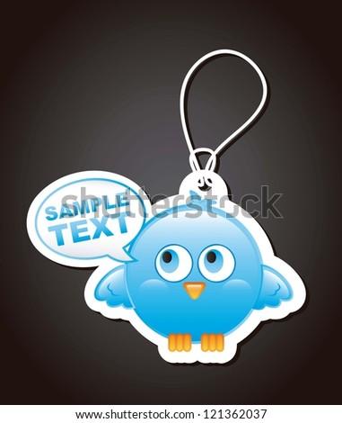 blue bird with balloons text over black background. vector - stock vector