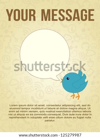 blue bird with bubble thought over vintage background. vector - stock vector
