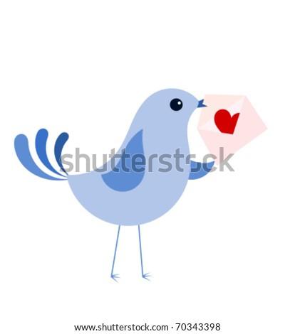 Blue bird with love card - stock vector