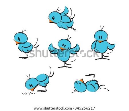 Blue birds, set - stock vector