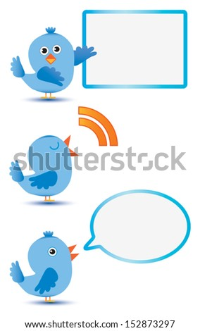 Blue birds with message board and speech bubble - stock vector