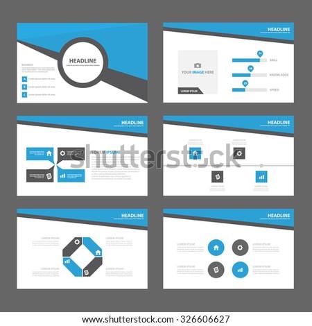 Blue Black Multipurpose Infographic elements and icon presentation template flat design set for advertising marketing brochure flyer leaflet - stock vector